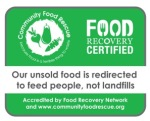 Businesses can proudly display this eye-catching sticker signifying their commitment to food recovery.