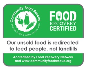 Community Food Rescue joins Food Recovery Certified to celebrate businesses that donate their unsold food. Look for this sticker.