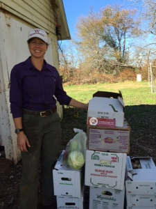 Farmer Courtney donates 50 lbs. of fresh cabbage and peppers.